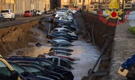 200-metre sinkhole swallows cars in central Florence
