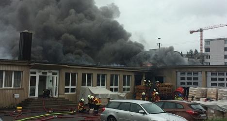 Huge blaze burns down Swiss candle factory