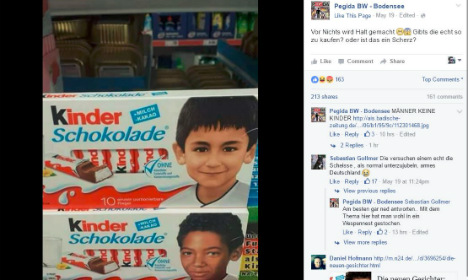 Pegida enraged by black children on chocolate bars