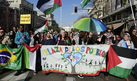 Spaniards march to mark five years of Indignados protests