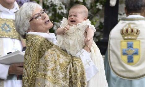Royal baptism day for Sweden's Prince Oscar