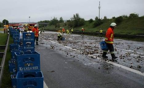 1000s of smashed beer bottles bring Autobahn to standstill