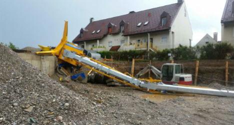 'Catastrophic' weather topples crane in Austria