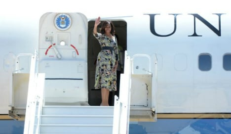 Michelle Obama and daughters arrive in Spain