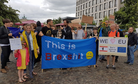 Anti-Brexit demonstrators protest in the heart of Berlin