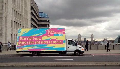 Berlin liberals woo London startups with cheeky placard
