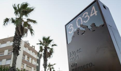 Barcelona unveils 'shame counter' of refugee deaths