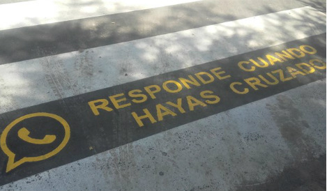 Spanish town warns against texting while crossing roads