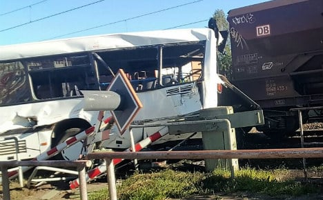 Ten injured after freight train crashes into bus in Osnabrück