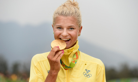 Patched-up Swede wins women's mountain bike gold