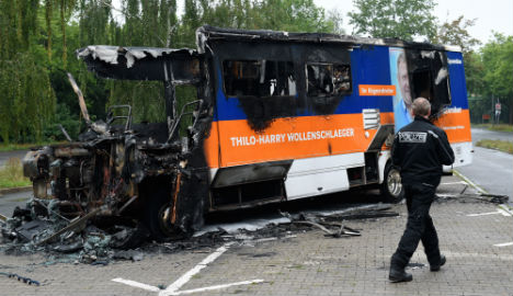 Arsonist burns down Merkel party mate's campaign bus