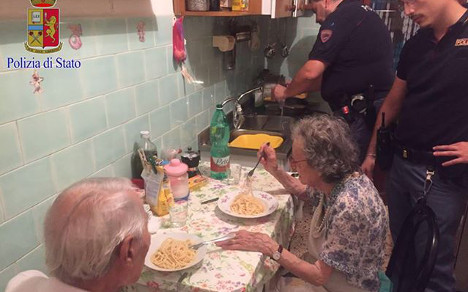 Rome police cook pasta for lonely elderly couple
