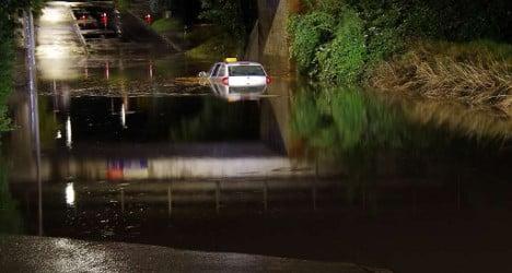 Chur cleans up after storm floods city