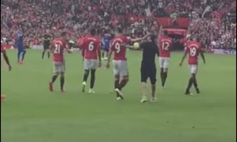 Zlatan look-a-like storms pitch as Man U take on champions