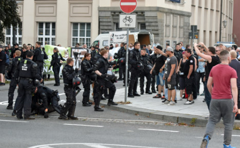Far-right and refugees in mass fight in east German town