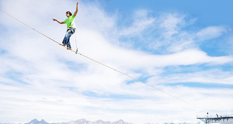 Swiss peak serves as stage for slackline meet