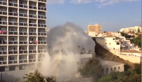 Watch: Costa del Sol hotel swamped in 60-foot geyser