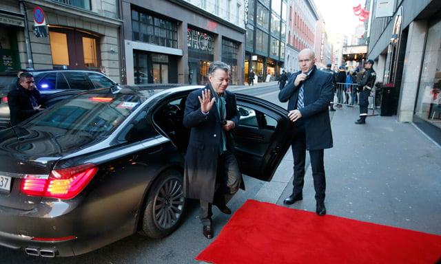 Colombian President Santos arrives in Oslo for busy Nobel weekend