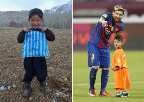 Afghan boy who made Messi shirt out of plastic bag finally meets his hero