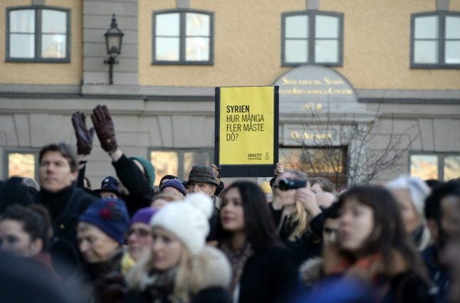 Swedes demonstrate against violence in Syria