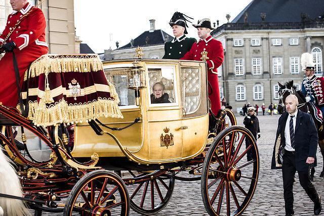 See Denmark's queen take her annual gold carriage ride through Copenhagen