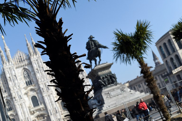 Vandals burn Milan Duomo palm trees as row turns racist