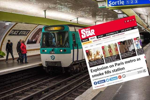 No, there wasn't a 'huge explosion' on the Paris Metro, but there was an electrical fault