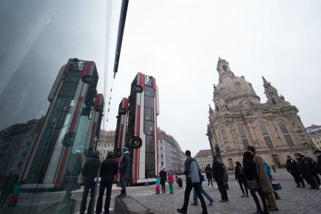 Dramatic Syrian art installation in central Dresden enrages far right
