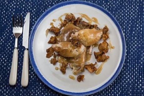 Recipe: Roast partridge with chanterelle sauce