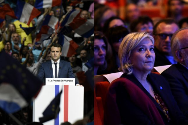 France's Le Pen and Macron rally supporters for presidential campaigns