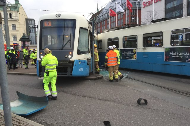 Traffic delays expected after trams crash in central Gothenburg