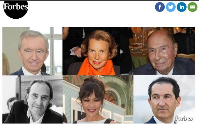 Who are France's 39 billionaires and what do many have in common?