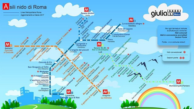 This Rome Metro map shows you your nearest daycare centre