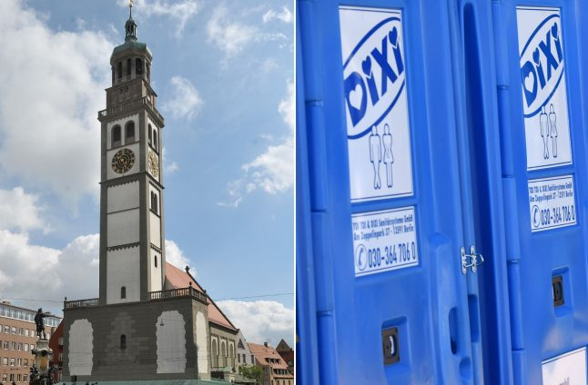 Porta potty almost floods Augsburg's historic old town