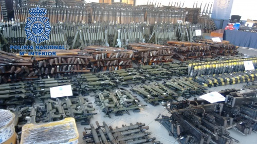 Spanish police show off MASSIVE haul of seized weapons