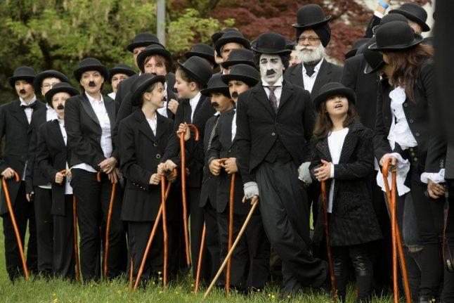 Charlie Chaplin fans set world record in Switzerland