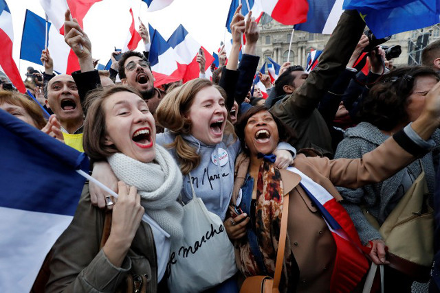 Joy and relief at the Louvre as Macron tells jubilant supporters: 'Tonight France won'