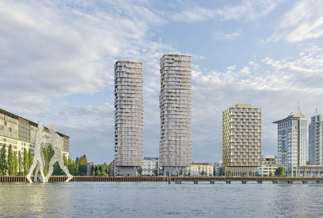 Two swanky new high rises to tower over east Berlin's river bank