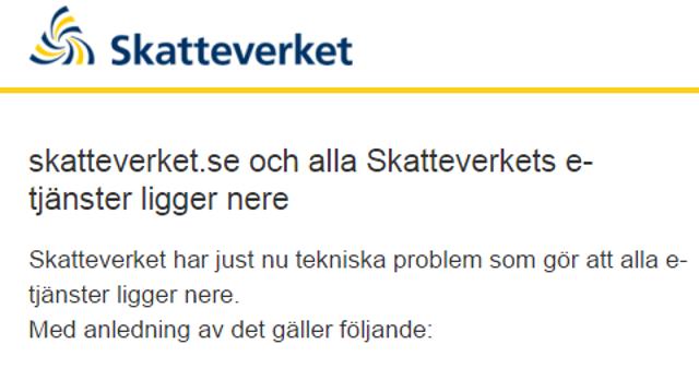 Skatteverket website down: new deadline for tax returns