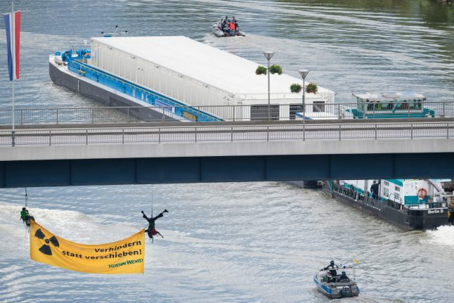 Daring activist stunt delays first ever river shipment of nuclear waste