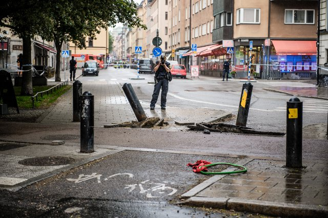 Suspect held after truck crashes into cars in Stockholm