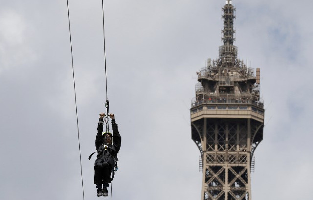 VIDEO: Eiffel Tower becomes haven for thrill-seekers as it turns into 90km/h ride