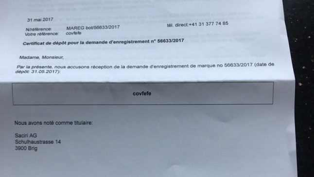 Valais businessman seeks to trademark Trump word 'covfefe'