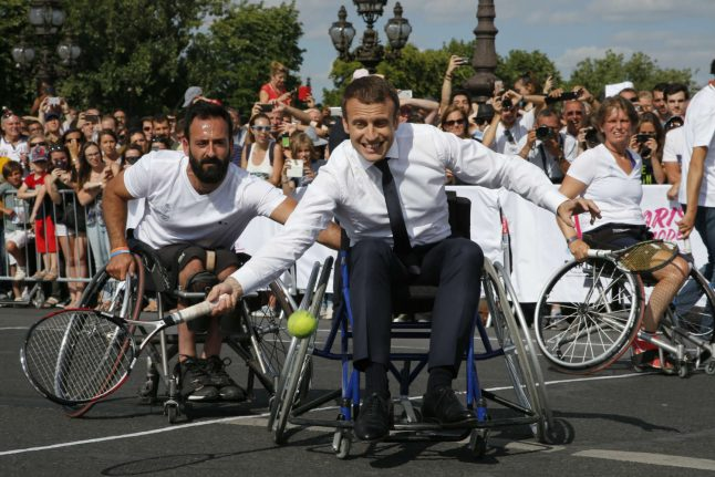 Olympics: French President shows game side to support Paris 2024