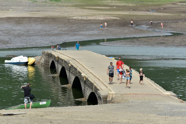 'German Atlantis' emerges from lake amid dry spell