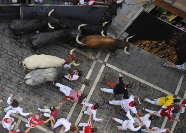 13 hurt in year's final Pamplona bull run