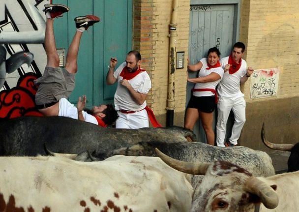 Three gored in first Pamplona bull run