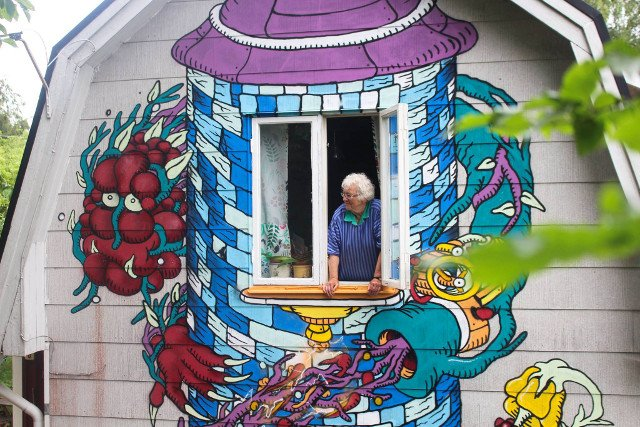 In pictures: Swedish pensioner has giant dragon painted on her house for her birthday