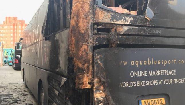 Ireland's Aqua Blue bus victim of Vuelta arson attack