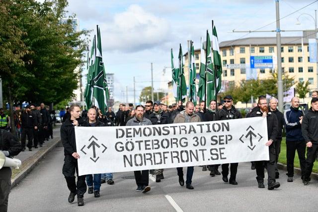 Nazis march through central Gothenburg